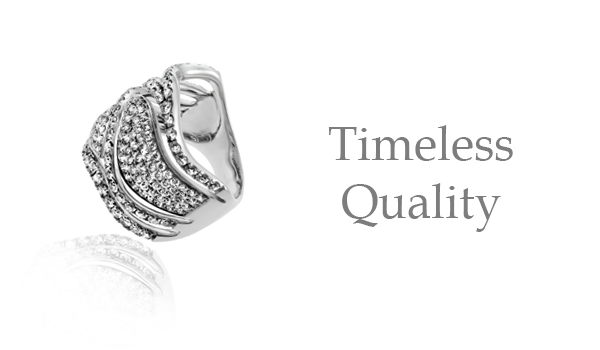 "A santa fe jewelry engagement ring with a caption of ""Timeless Quality"""