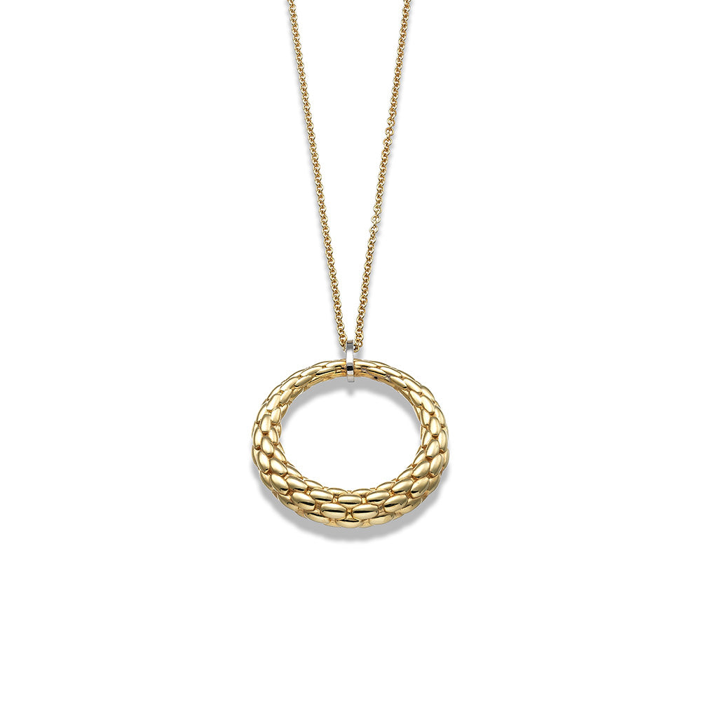 Fope 18k yellow gold chain circle pendant necklace santa fe jewelry aloadofball Gallery