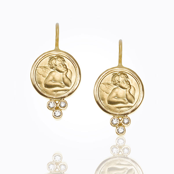 A pair of cherub earrings made by Temple St. Clair Santa Fe Jewelry.
