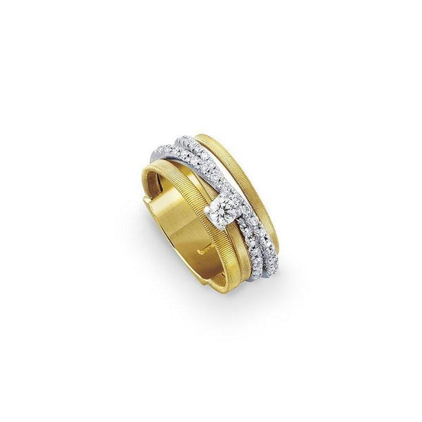 A Marco Bicego ring from his Goa collection. 5 Strand with diamonds Santa Fe Jewelry.
