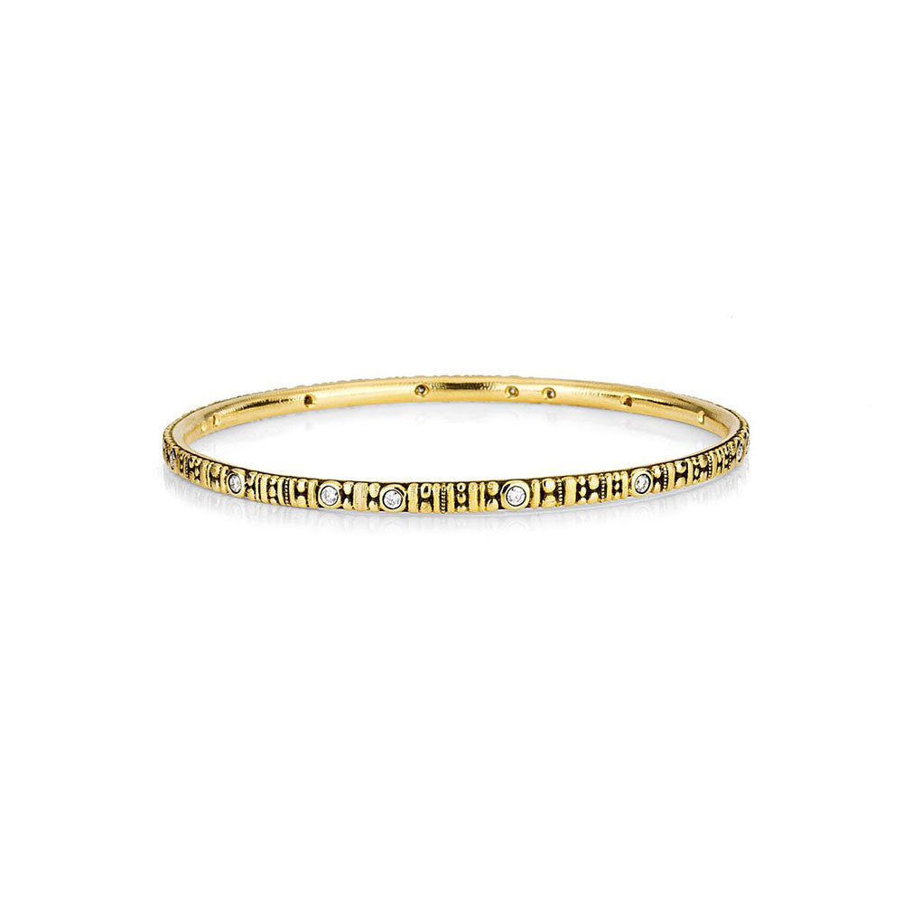 Alex Sepkus 2mm 18k Gold And Diamond Bangle Bracelet