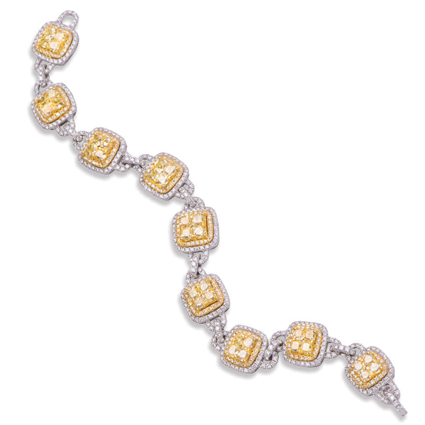 Diva Design Yellow And White Diamond Square Link Bracelet
