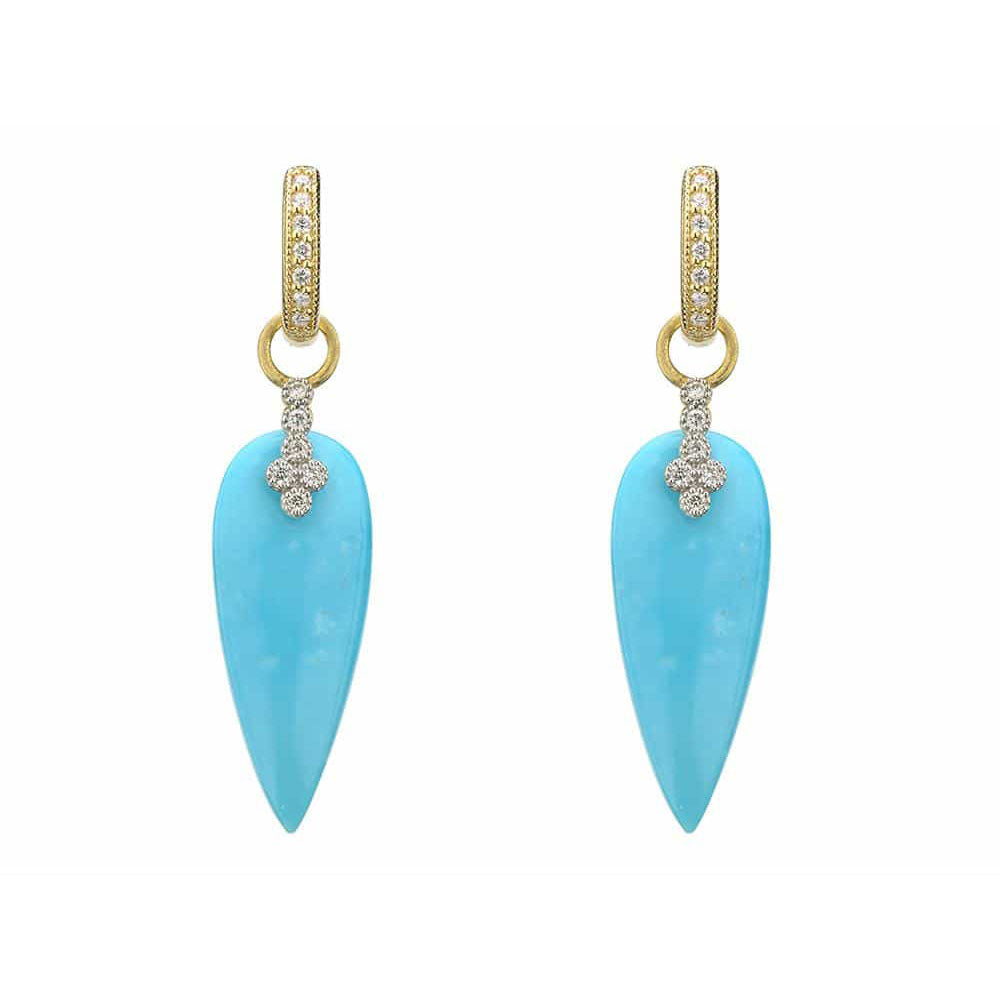 Jude Frances Moroccan Elongated Turquoise & Diamond Earring Charms gTuOrM