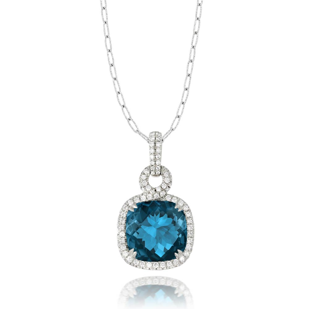 Doves London Blue Topaz Square Necklace With Diamonds