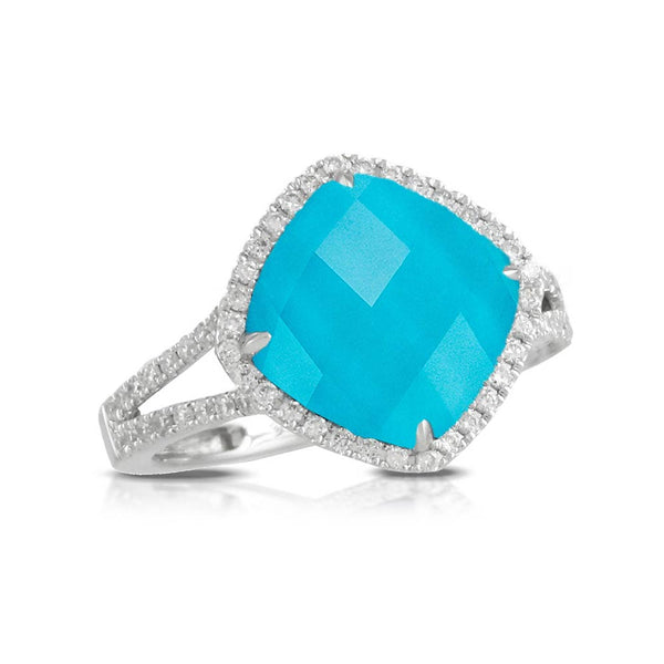 Doves Saint Barths Blue Turquoise and Faceted Topaz Ring With Diamonds
