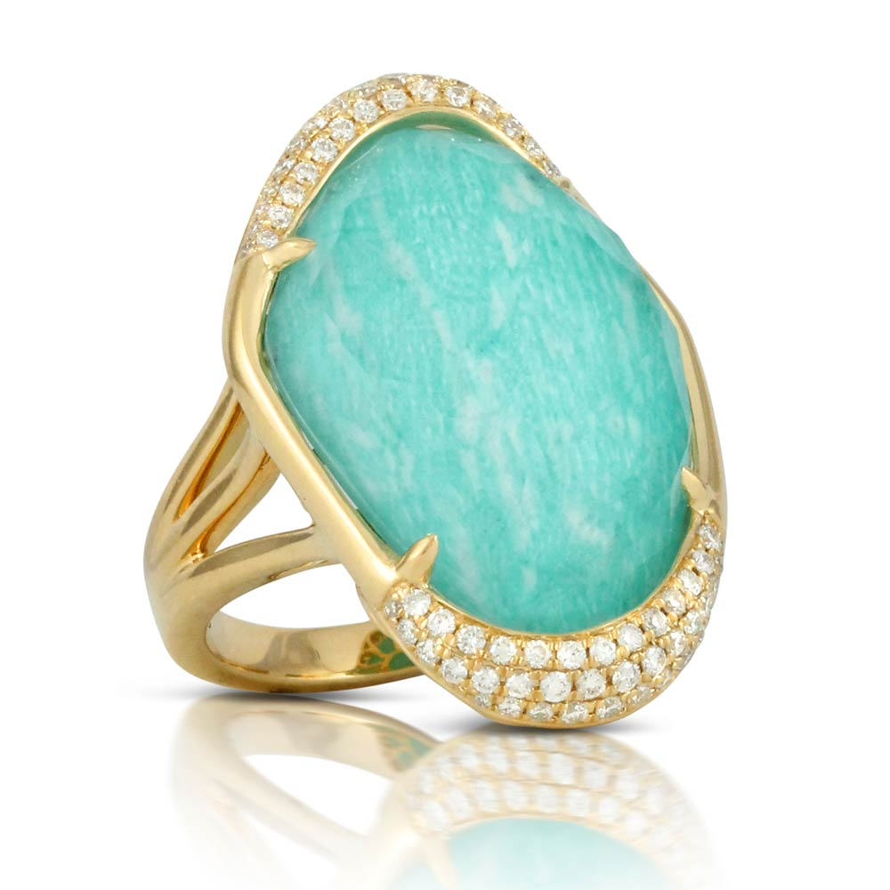 Doves Amazon Breeze Unique Amazonite Ring With Diamonds