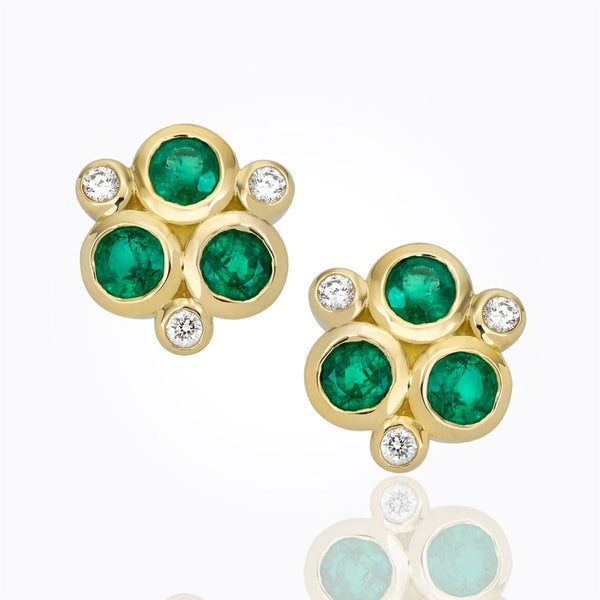 A pair of trio earrings with emerald and diamond Santa Fe Jewelry