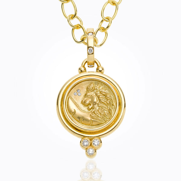 A lion coin pendant by Temple St. Clair Santa Fe Jewelry