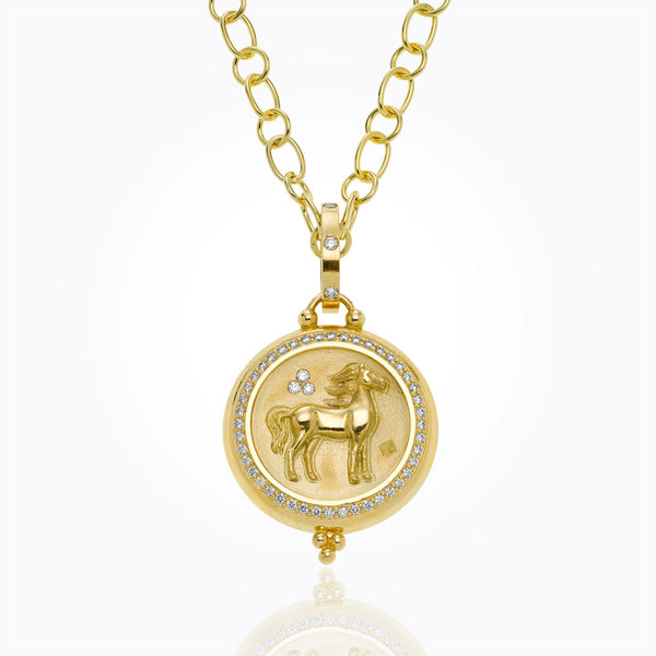 A horse coin pendant by Temple St. Clair  Santa Fe Jewelry