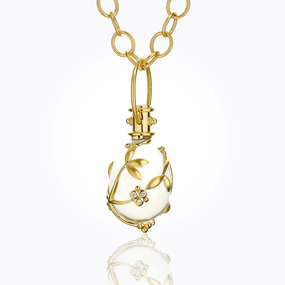 Temple St. Clair 18K Vine Amulet With Oval Rock Crystal And Diamond