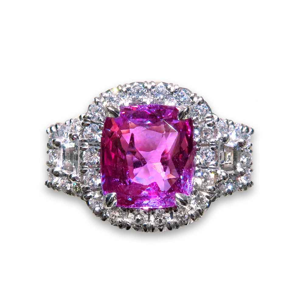Diva 4.03ct Pink Sapphire Ring With White Diamond Accents 18K White Gold