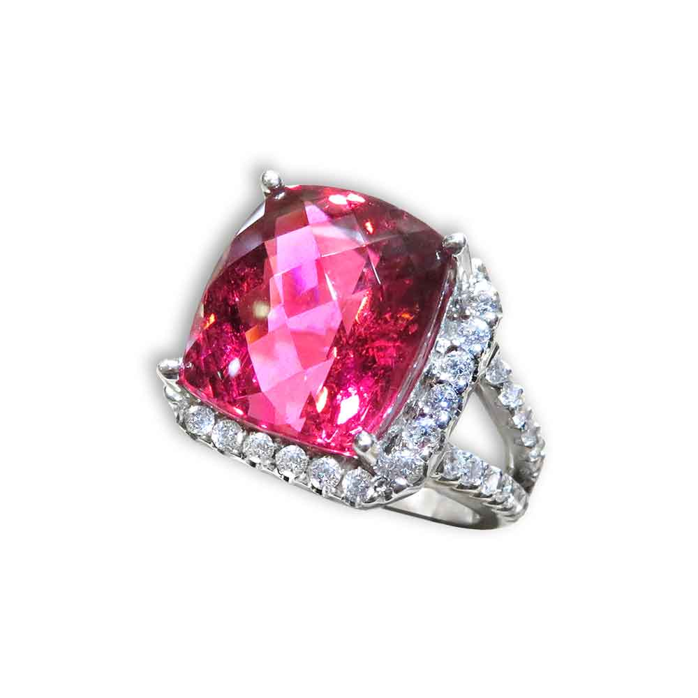 Diva Stunning 6.24ct Pink Tourmaline And Diamond Ring 18K White Gold