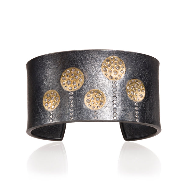 A Todd Reed gold cuff with patina sterling silver Santa Fe Jewelry