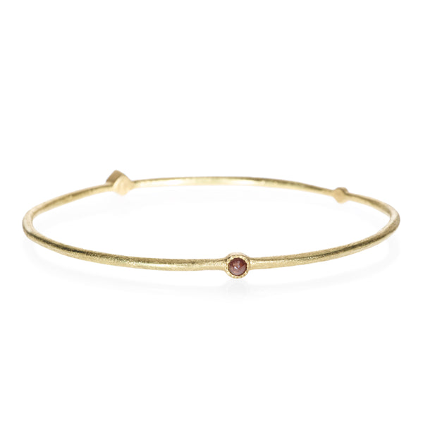 Todd Reed 18k Gold Thin Bangle Bracelet With Rose Cut Diamonds