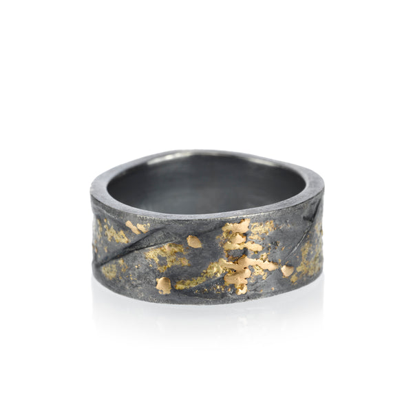 A Todd Reed patina sterling silver ring with gold on it. Santa Fe Jewelry.