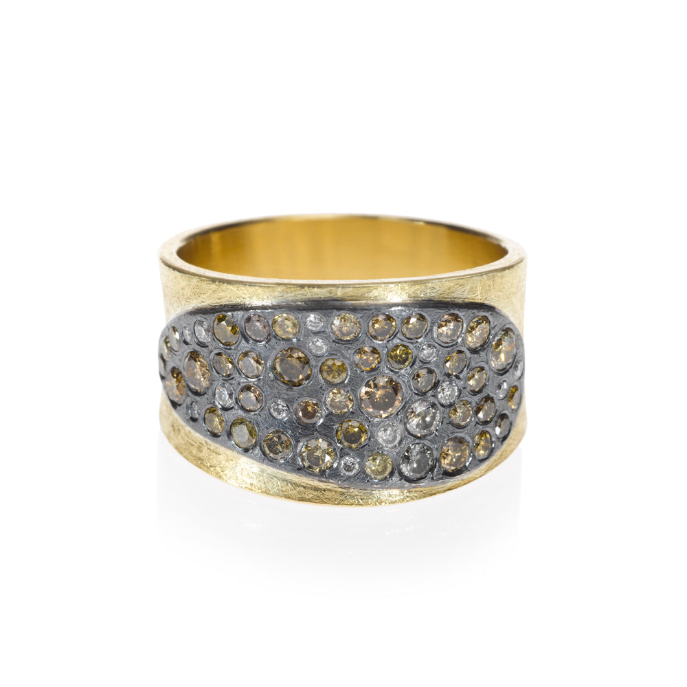 An Autumn diamond ring with a burnt looking front face Santa Fe Jewelry