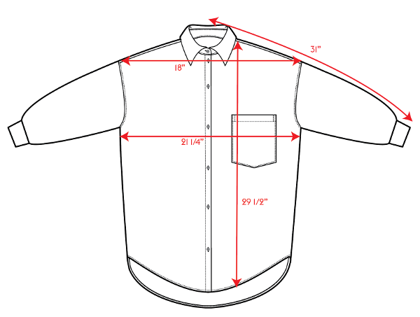 Sunday Button Down Size Chart