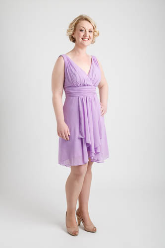 Ruffles Padded V-neck Hi-Low Dress Light Purple (size 10)