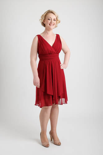 Ruffles Padded V-neck Hi-Low Dress Burgundy (size 16)