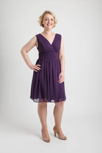 Dark Purple Double V-neck Short Dress (size 12)