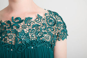 Green Lacey Neckline Dress (size 10)
