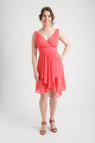 Ruffles Padded V-neck Hi-Low Dress Coral (size 6)