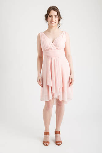 Ruffles Padded V-neck Hi-Low Dress Light Pink