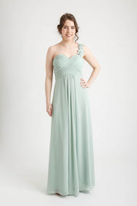 Mint Green Flowers One Shoulder Chiffon Dress