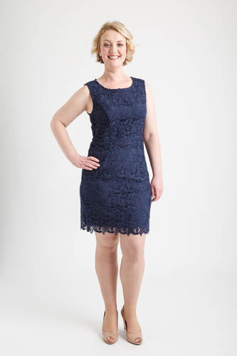 Navy Round Neck Full Lace Dress (size 12)