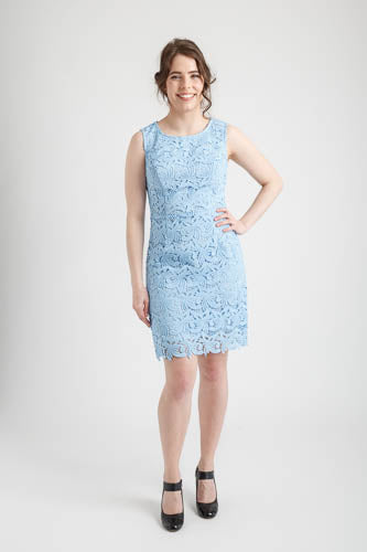 Baby Blue Round Neck Full Lace Dress (size 8)