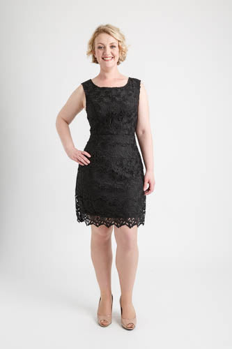 Black Round Neck Full Lace Dress (size 14)