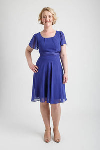 Royal Blue Round Neck Chiffon Short Dress (size 10)