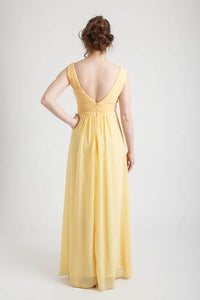 Yellow Deep V-neck Long Dress (size 6)