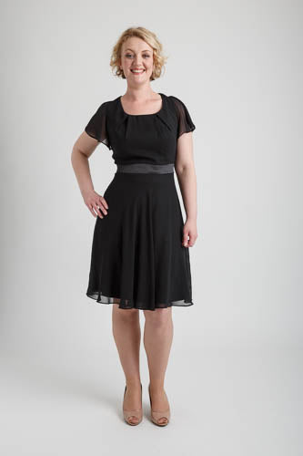 Black Round Neck Chiffon Short Dress (size 16)