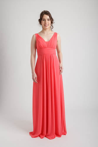 Dark Coral Deep V-neck Long Dress (size 10)