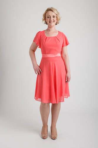 Coral Round Neck Chiffon Short Dress (size 14)
