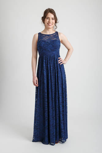 Navy Lacey Full Length Dress (size 10)