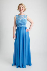 Periwinkle Blue Scalloped Boatneck Lace Dress