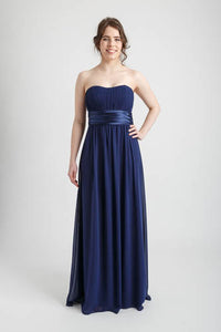 Navy Strapless Ruched Bust Long Dress (size 8)