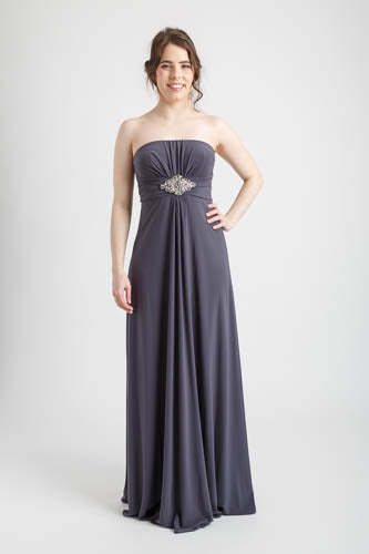 Gray Strapless Long Dress