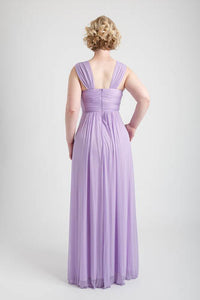 Light Purple Braid Accent Ruched Long Dress