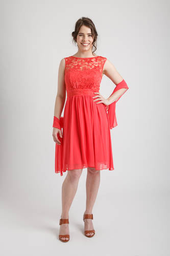 Coral Floral Lace Top Short Dress