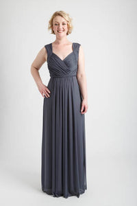 Gray Braid Accent Ruched Long Dress