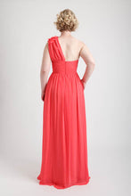 Coral One Shoulder Long Dress with Floral Applique
