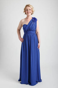 Royal Blue One Shoulder Long Dress with Floral Applique