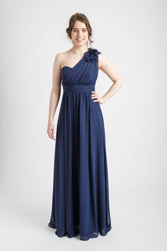 Navy One Shoulder Long Dress with Floral Applique