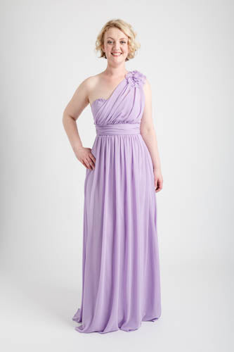 Light Purple One Shoulder Long Dress with Floral Applique