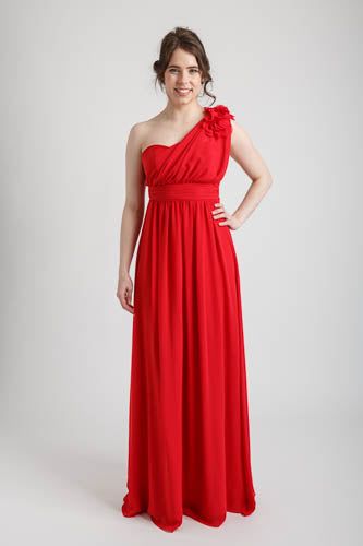 Red One Shoulder Long Dress with Floral Applique
