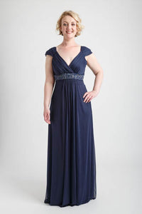 Navy Cap Sleeve Long Dress with Beaded Trim