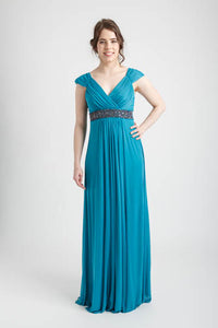 Jade Green Cap Sleeve Long Dress with Beaded Trim